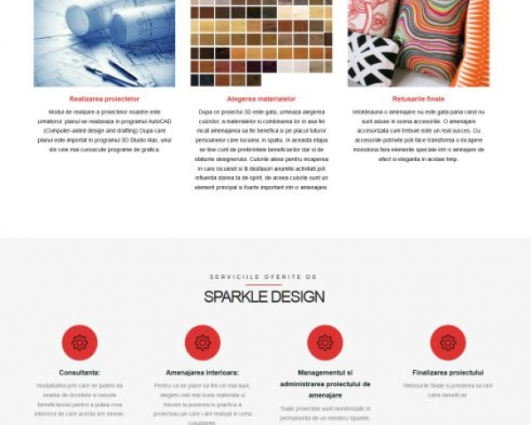 Sparkle Design – dezvoltare website amenajari interioare